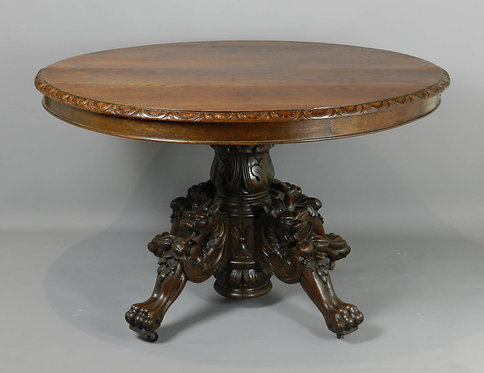 Antique French Carved Oak Hunt Table C1870