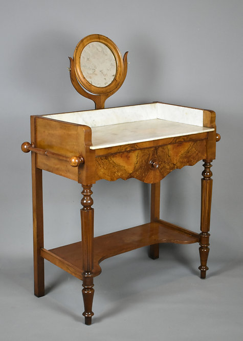 Antique French Walnut Washstand with Mirror