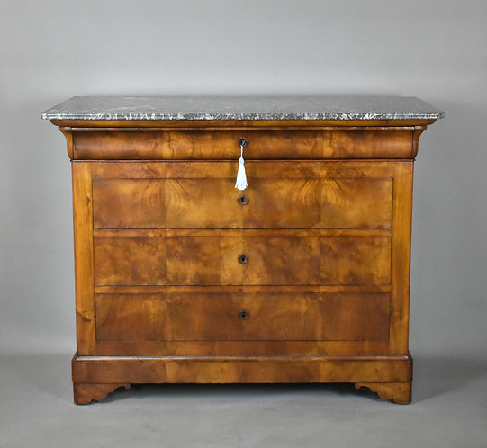 Antique French Burr Elm Chest of Drawers Commode (Louis Philippe)