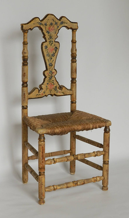 French Folk Art Painted Rush Chair