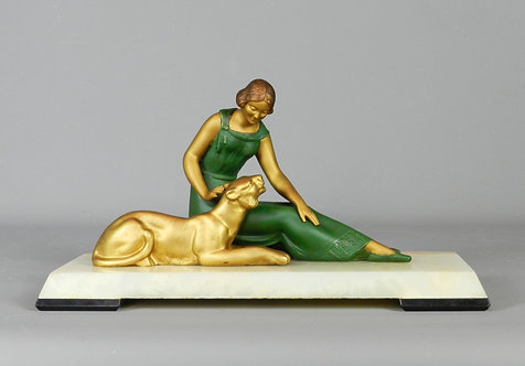 French Art Deco Figurine Sculpture of Woman and Lioness