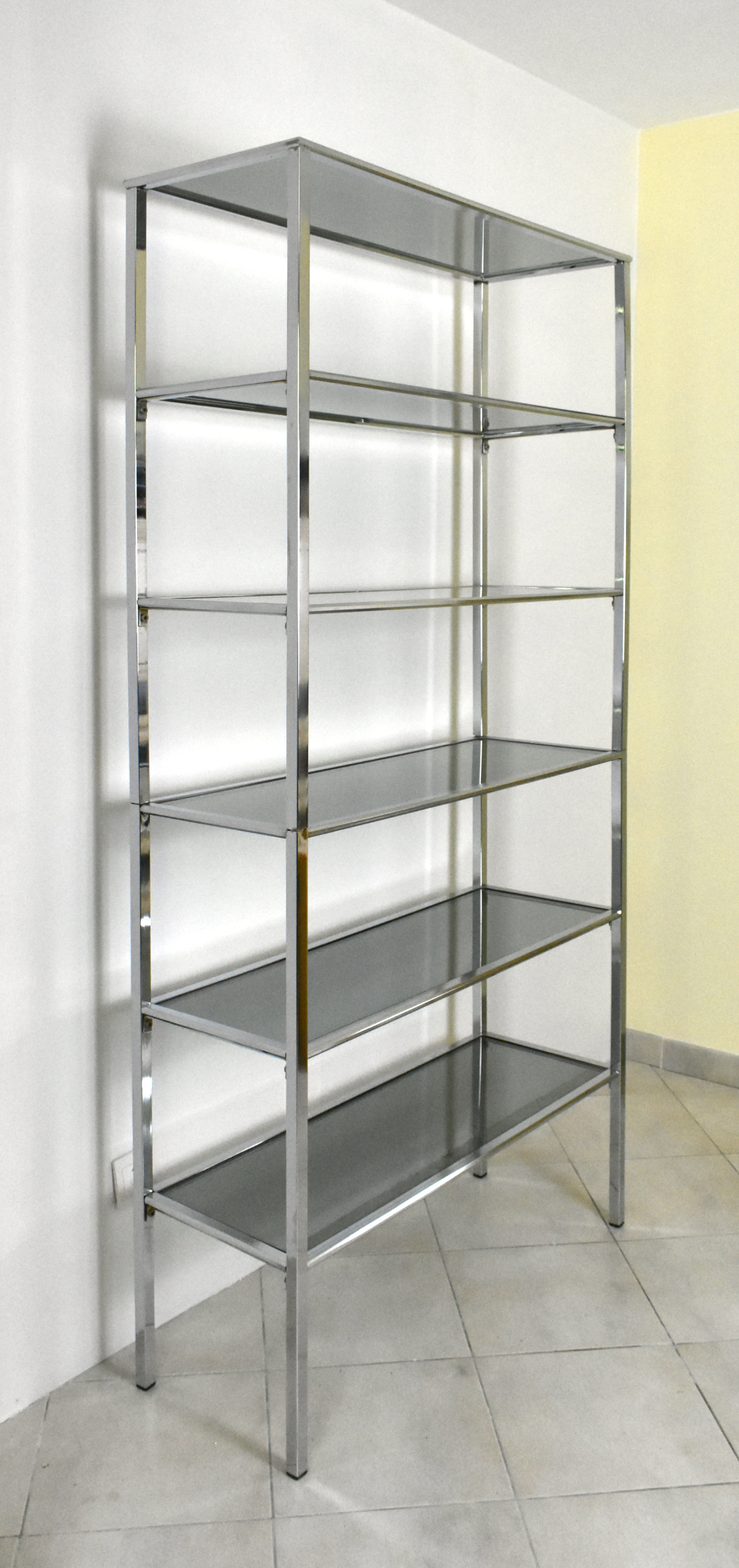 Chrome and Smoked Glass Shelving Unit 1970s