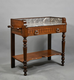 Oak Washstand with Variegated Grey and White Marble Top