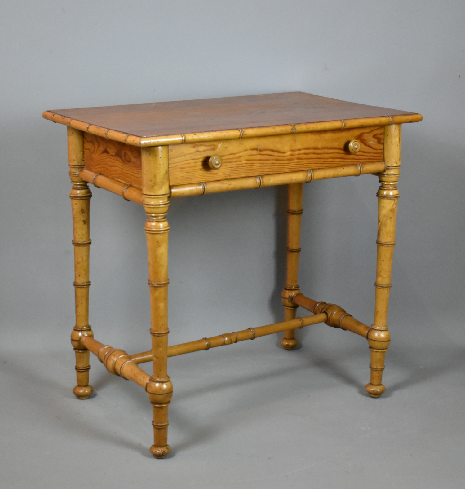 French Antique Faux Bamboo Side Table