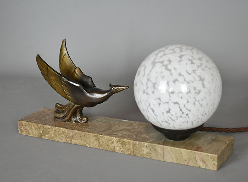 French Art Deco Table Lamp with Globe Shade and Bird