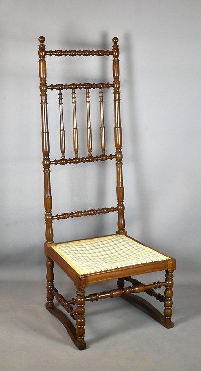 Antique French Walnut Bobbin-Turned Nursing Chair