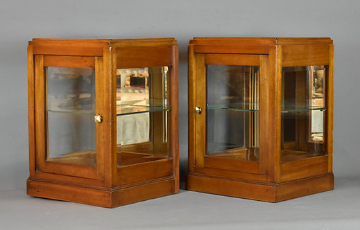 Pair of French Counter-top Mahogany Display Cabinets