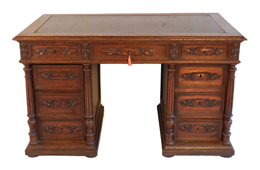French Oak Pedestal Desk