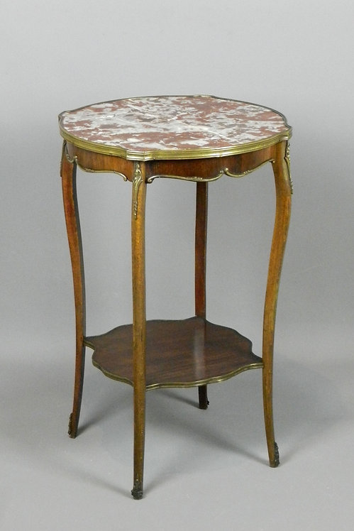 French Side Table with Variegated Marble Top