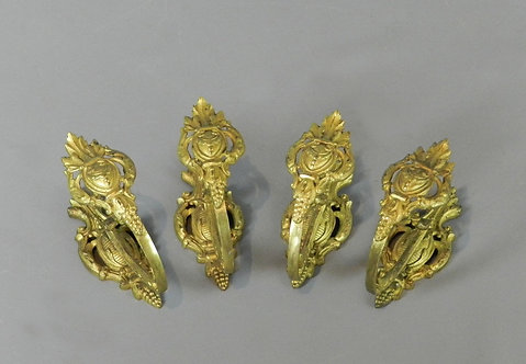 Two Pairs of French Brass Curtain Tie Backs
