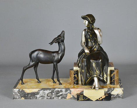 French Art Deco Sculpture of Lady and Deer