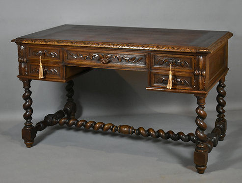Antique French Carved Green Man Oak Writing Desk Table