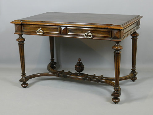 French Walnut Double Drawer Writing Table