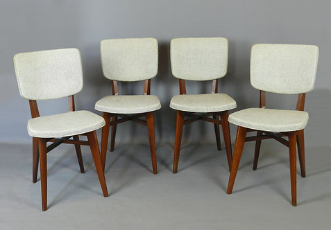 Classic Mid Century Set of Four French Dining Chairs