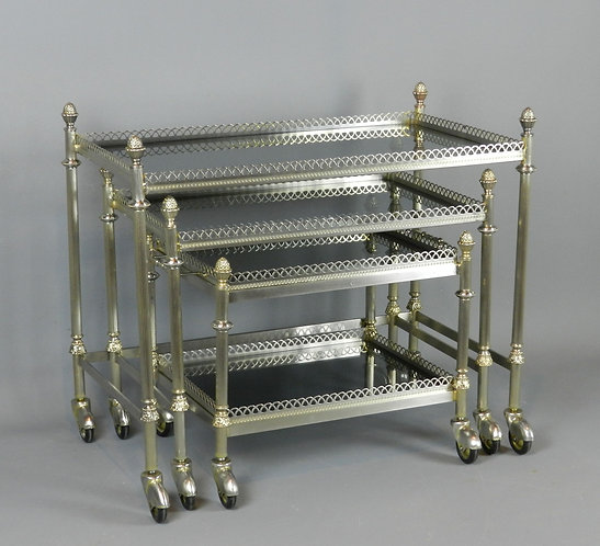Nest of French Trolleys/Bar Carts/Tables with Smoked Glass Tops