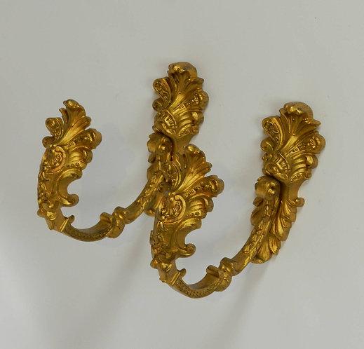 French Gilt Bronze Antique Curtain Tie-Backs