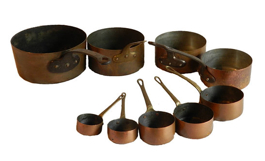 Set of Nine French Copper Pans
