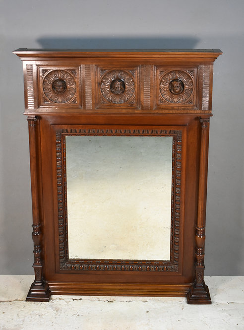 Antique French Mahogany Overmantel Mirror