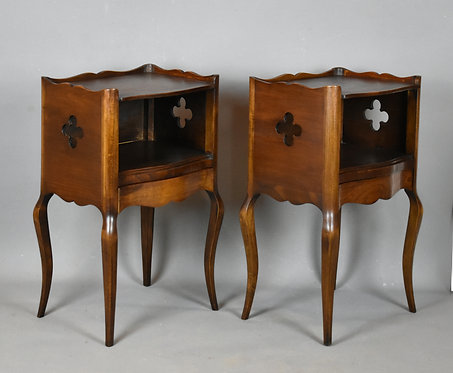Antique French Pair of Oak Bedside Cabinets