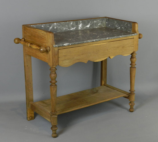 French Grey & White Marble Top Washstand