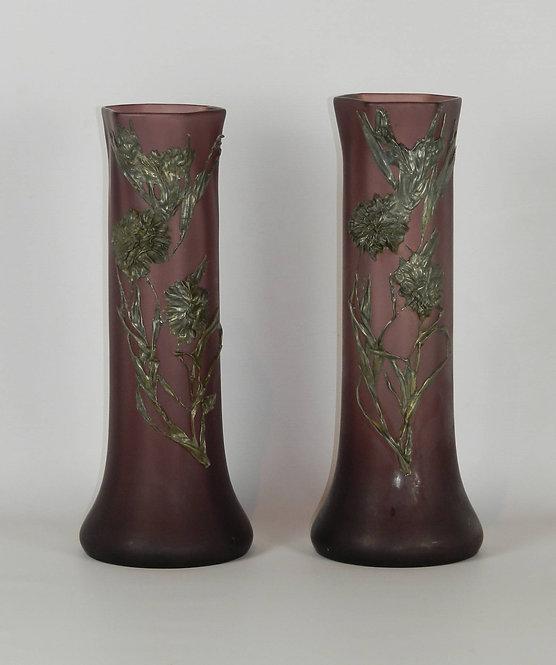 Pair French Art Nouveau Glass Vases