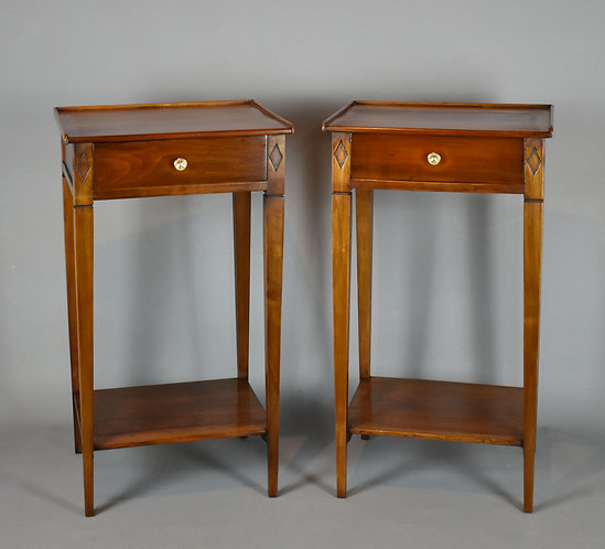 Pair of French Antique Bedside Cabinets in Cherry Directoire Style