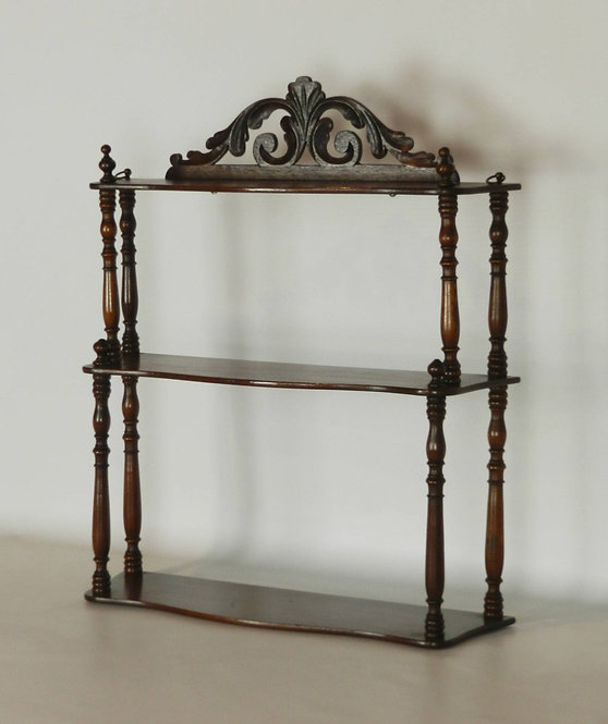 Antique French Mahogany Etagere Wall Shelf