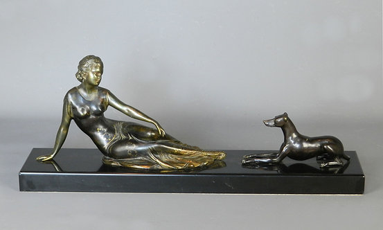 Large Art Deco Figurine Lady & Dog by Uriano