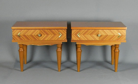 Pair of French Mid-Century Bedside Cabinets Tables