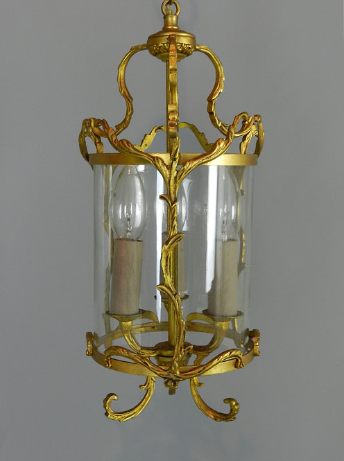 Elegant Gilt Bronze and Glass Hall Lantern