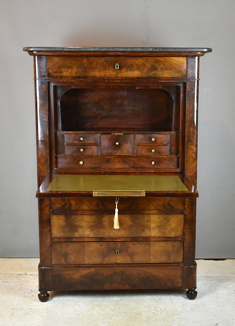 19th Century French Mahogany Secretaire A Abattant