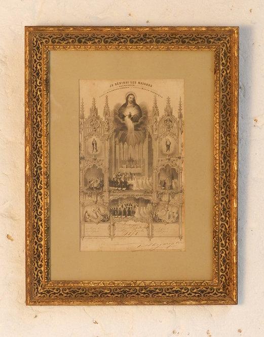 Giltwood Framed 'Je bénirai les maisons'