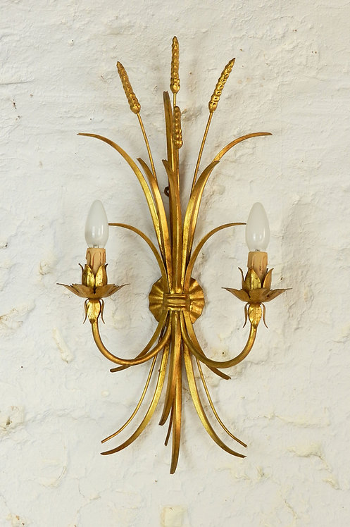 French Gilt Toleware Wheat Sheaf Wall Sconce