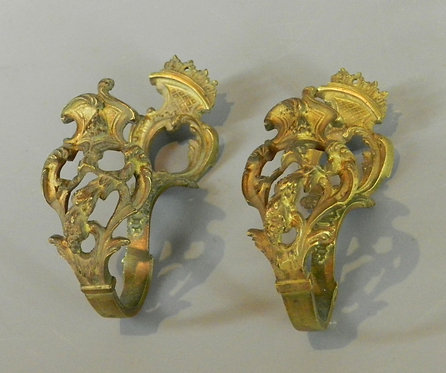 Pair of French Brass Curtain Tie Backs