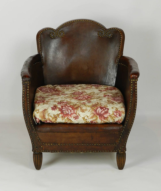 Art Deco French Leather Armchair