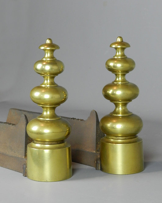 Pair French Brass Fire Dogs/Andirons