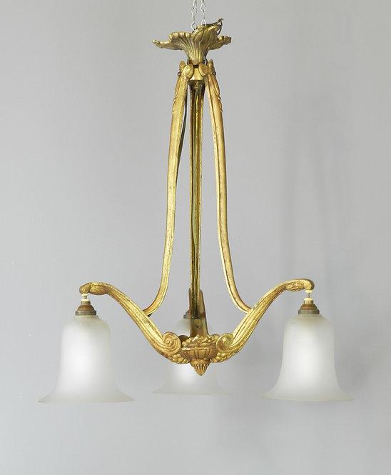 Elegant Gilt Bronze Art Nouveau Chandelier