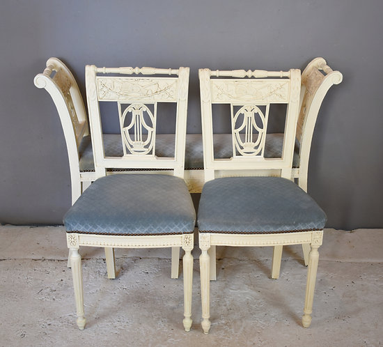 Antique French Painted Bench & Pair of Chairs