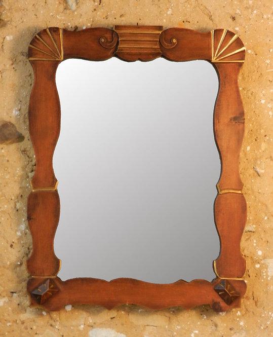 Deco Wood & Gilt Mirror