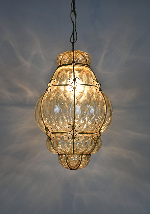 Hand Blown Murano Glass Cage Pendant Light