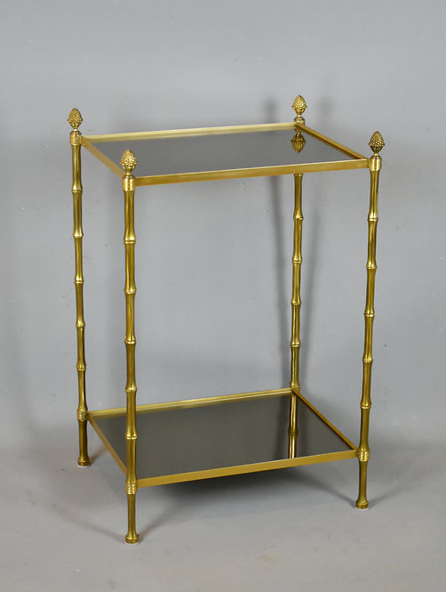 French Bronze Bamboo Mirrored Side Table Baguès