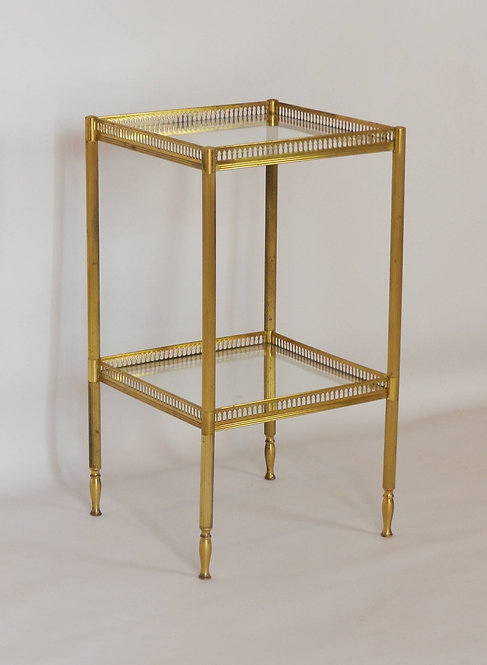 Delightful French Brass and Glass Side Table