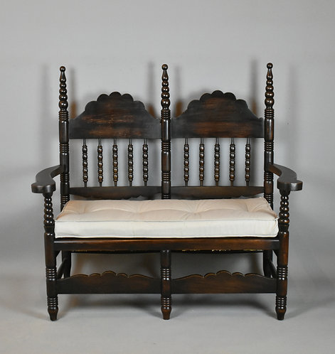 Antique French Bobbin Turned Settle Bench