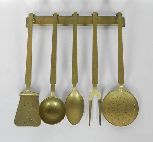 Set of Five Solid Brass Cooking Utensils