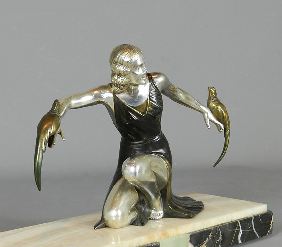 Art Deco Sculpture of Lady with Pheasants by S Melani