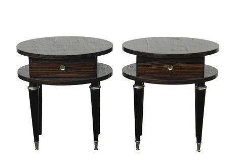 Pair Of Mid Century French Macassar Ebony Bedside Cabinets With Striking Veneer