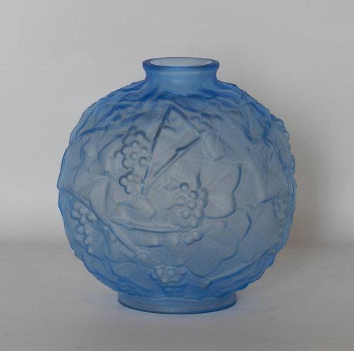 Blue Art Deco Glass Vase by Espaivet