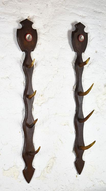 Pair Antique French Horn Hanging / Gun Racks