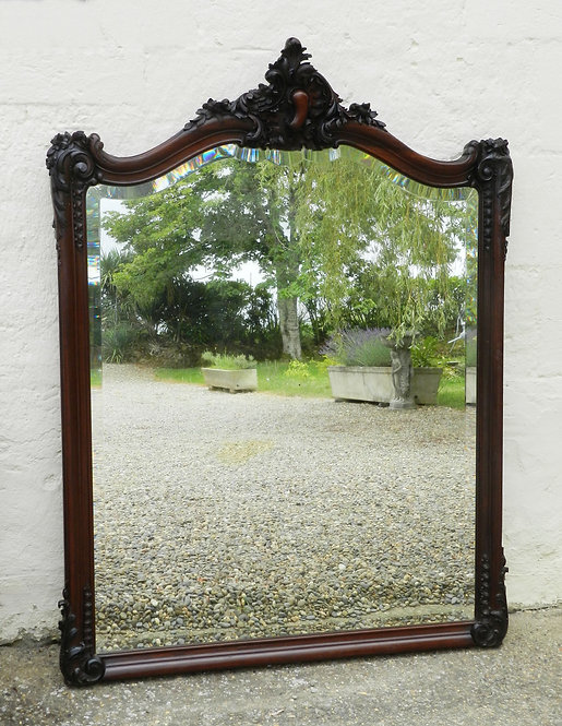 Large Louis XV Style Walnut Overmantle Mirror