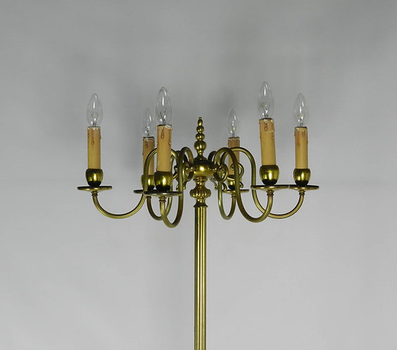 Brass Six Branch Candelabra Standard Lamp
